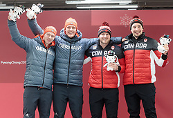 19.02.2018, Olympic Sliding Centre, Pyeongchang, KOR, PyeongChang 2018, Rodeln, Zweisitzer, Herren, Flower Zeremonie, im Bild Francesco Friedrich, Thorsten Margis (GER, 1. Platz), Justin Kripps, Alexander Kopacz (CAN, 1. Platz) // gold medalist and Olympic champion Francesco Friedrich Thorsten Margis of Germany an Justin Kripps Alexander Kopacz of Canada during the mens doubles Bobsleigh of the Pyeongchang 2018 Winter Olympic Games at the Olympic Sliding Centre in Pyeongchang, South Korea on 2018/02/19. EXPA Pictures © 2018, PhotoCredit: EXPA/ Johann Groder