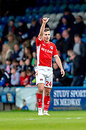 Charlton Athletic midfielder Josh Cullen (24) after scoring a goal (0-2) during the EFL Sky Bet League 1 match between Gillingham and Charlton Athletic at the MEMS Priestfield Stadium, Gillingham, England on 27 April 2019.