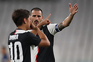 Juventus's Italian defender Leonardo Bonucci congratulates Argentinian striker Paulo Dybala as he celebrates after scoring the opening goal to give the side a  1-0 lead during the Serie A match at Allianz Stadium, Turin. Picture date: 26th June 2020. Picture credit should read: Jonathan Moscrop/Sportimage
