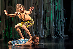 © Licensed to London News Pictures. 12/11/2012. London, UK. Award-winning choreographer and Sadler's Wells Associate Artist, Jasmin Vardimon, presents her new work Freedom this autumn, a dance theatre production, at Sadler's Wells Theatre, London. Picture shows Julia Robert Pares & Esteban Fourmi. Photo credit: Tony Nandi/LNP