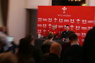 a room full of journalists listen as Wales rugby head coach Warren Gatland and Wales rugby captain Dan Lydiate ® speak during the Wales rugby team announcement press conference at the Vale Resort Hotel in Hensol, near Cardiff , South Wales on Thursday  16th November 2017.  the team are preparing for their Autumn International series match against Georgia this weekend.   pic by Andrew Orchard