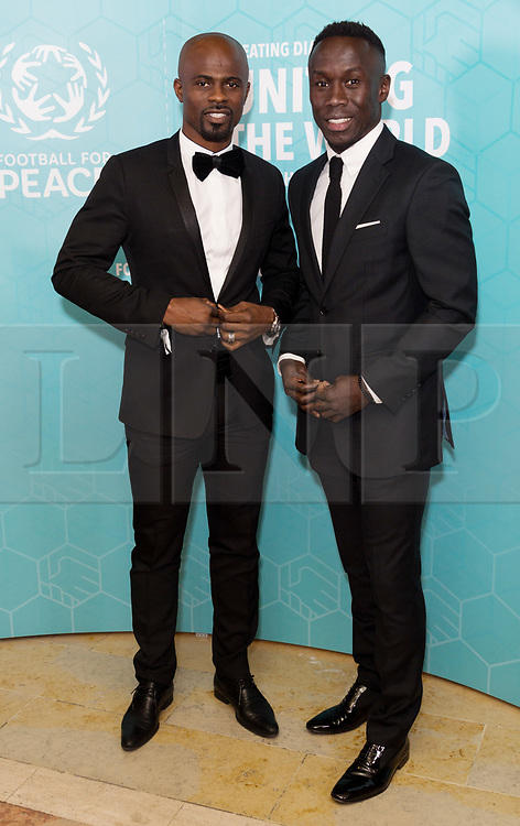 © Licensed to London News Pictures. 17/11/2017.  London, UK. GEROGE BOATENG and BARCY SAGNA attend the Football For Peace Inaugural Ball held at Guildhall. Photo credit: Ray Tang/LNP