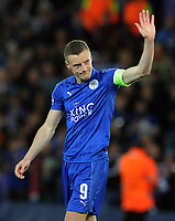 Football - 2016 / 2017 UEFA Champions League - Quarter-Final, Second Leg: Leicester City vs. Atletico Madrid<br /> <br /> A dejected Jamie Vardy of Leicester City waves to the crowd at the final whistle at the King Power Stadium.<br /> <br /> COLORSPORT/ANDREW COWIE