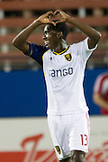 FRISCO, TX - JULY 13:  Olmes Garcia #13 of Real Salt Lake celebrates after scoring a goal against FC Dallas on July 13, 2013 at FC Dallas Stadium in Frisco, Texas.  (Photo by Cooper Neill/Getty Images) *** Local Caption *** Olmes Garcia
