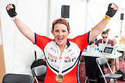 Sam Bailey, 2013 X-factor winner, after completing the London-Surry 100. Prudential RideLondon a festival of cycling, with more than 95,000 cyclists, including some of the world's top professionals, participating in five separate events over the weekend of 1-2 August.