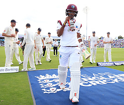 West Indies Kraigg Brathwaite leaves the field at the tea interval 102 not out during day two of the the second Investec Test match at Headingley, Leeds. PRESS ASSOCIATION Photo. Picture date: Saturday August 26, 2017. See PA story CRICKET England. Photo credit should read: Nigel French/PA Wire. RESTRICTIONS: Editorial use only. No commercial use without prior written consent of the ECB. Still image use only. No moving images to emulate broadcast. No removing or obscuring of sponsor logos.