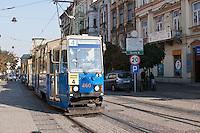 Old tram in krakow poland