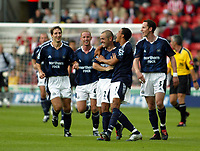 Photo. Chris Ratcliffe. <br /> Southampton v Newcastle United. Barclays Premiership. 19/09/2004<br /> Steve Carr of  Newcastle celebrates scoring the second goal <br /> NORWAY ONLY