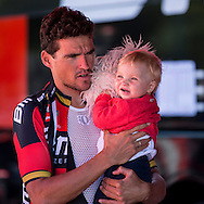 Olympic Gold medal winner Greg van Avermeat with his child during the Eneco Tour 2016 at  at Breda, Breda, Holland on 20 September 2016. Photo by Gino Outheusden.