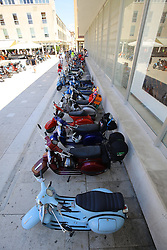 12.06.2015, Zadar, CRO, World Vespa Days 2015, im Bild Fans of the popular Vespa scooter expose the front of the church of St. Donatus, and for tomorrow's scheduled parade through the city of several thousand fans. // during the World Vespa Days 2015 at Zadar, Croatia on 2015/06/12. EXPA Pictures © 2015, PhotoCredit: EXPA/ Pixsell/ Filip Brala<br /> <br /> *****ATTENTION - for AUT, SLO, SUI, SWE, ITA, FRA only*****