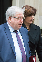 Downing Street, London, December 1st 2015. Transport Secretary Patrick McLoughlin and Education Secretary Nicky Morgan leave Downing Street following the weekly cabinet meeting. ///FOR LICENCING CONTACT: paul@pauldaveycreative.co.uk TEL:+44 (0) 7966 016 296 or +44 (0) 20 8969 6875. ©2015 Paul R Davey. All rights reserved.