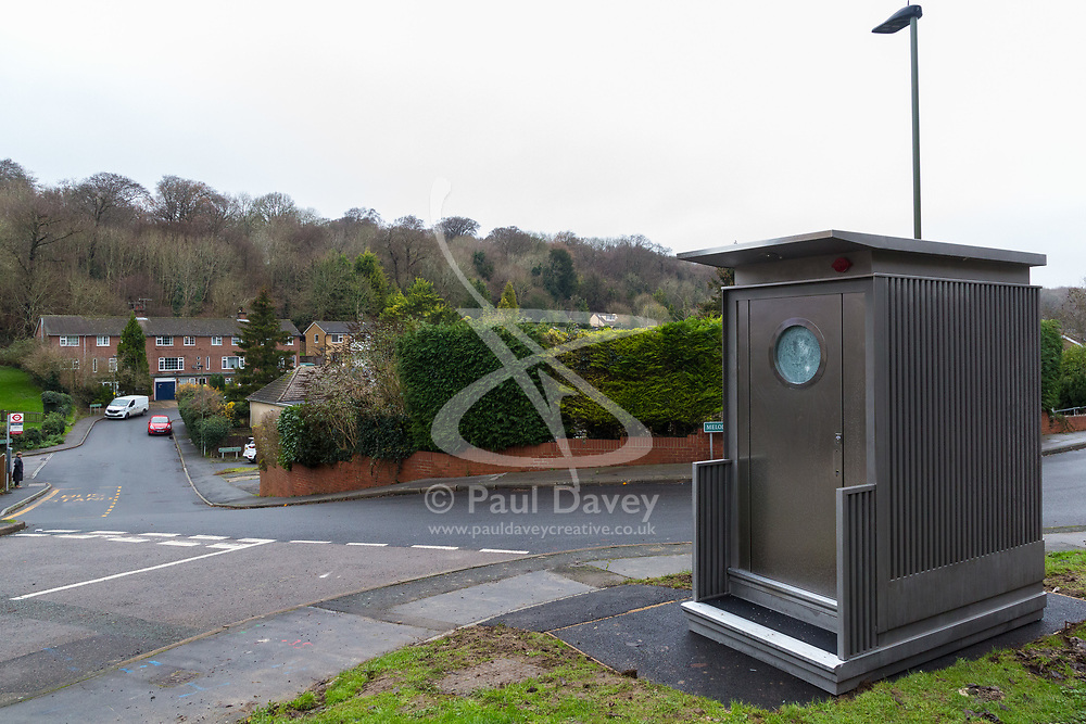 Local residents are both mystified and annoyed about the sudden appearance of a toilet for bus drivers using the nearby bus stand that has been erected on the corner of Melody Road and Whitby Close in Biggin Hill, Kent. Biggin Hill, Kent, December 06 2018.