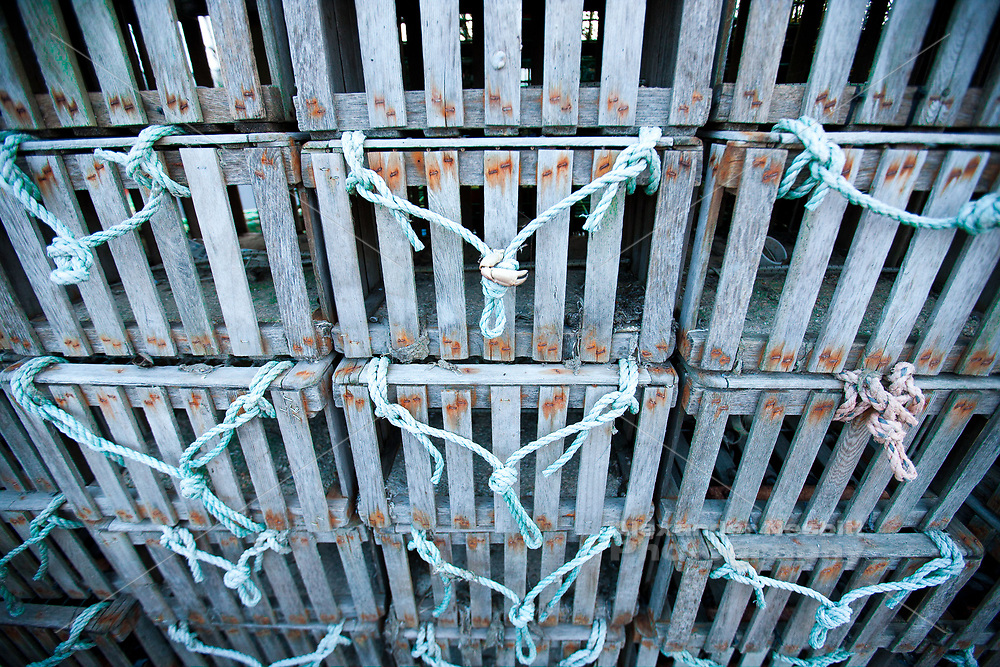 Old style wooden lobster pots at the state fishing pier.