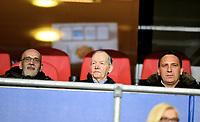 Fotball , 29. mars 2016 ,  Privatkamp<br /> Norge - Finland 2-0<br /> Norway - Finland<br /> <br /> Kosovos A-landslags Tord Grip (midten) med Albert Bunjaki (landslagssjef) (th) og Eduar Celina , far til Bersant Celina satt på tribunen