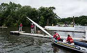 Henley-on-Thames. United Kingdom.  Diamond Challenge Sculls, Martin O' LEARY, empties the water from his boat after capsizing with attaching to the start pontoon. 2017 Henley Royal Regatta, Henley Reach, River Thames. <br /> <br /> <br />  Thursday  29/06/2017   <br /> <br /> [Mandatory Credit. Peter SPURRIER/Intersport Images.