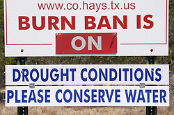 Signs on drought conditions and burn bans