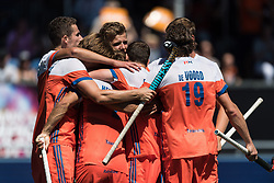 The Netherlands celebrate the goal of Jeroen Hertzberger of The Netherlands during the Champions Trophy finale between the Netherlands and Argentina on the fields of BH&BC Breda on Juli 1, 2018 in Breda, the Netherlands.