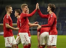 Målscorer Jonas Wind (Danmark) jubler med Andreas Maxsø efter scoringen til 1-0under venskabskampen mellem Danmark og Sverige den 11. november 2020 på Brøndby Stadion (Foto: Claus Birch).