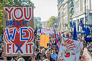 The march which was estimated to toal over 650,000 heads up Piccadilly - The People's Vote March For The Future demanding a Vote on any Brexit deal. The protest assembled on Park Lane and then marched to Parliament Square for speeches.