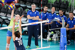 Lana Scuka of Slovenia vs Yuezhou Zhu of China during the volleyball match between National team of Slovenia and China in Preliminary Round of Womens U23 World Championship 2017, on September 12, 2017 in SRC Stozice, Ljubljana, Slovenia. Photo by Morgan Kristan / Sportida