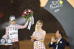 France's Romain Bardet (C), wearing the best climber's polka dot jersey celebrates his best climber's polka dot jersey on the podium of the 21st and last stage of the 106th edition of the Tour de France cycling race between Rambouillet and Paris Champs-Elysees, in Paris, France on July 28, 2019. Photo by Eliot Blondet/ABACAPRESS.COM