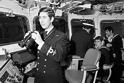 File photo dated 12/02/73 of the Prince of Wales serving as a sub-lieutenant on the bridge of the frigate Minerva at Devonport before leaving for routine patrols and exercise around the West Indies.