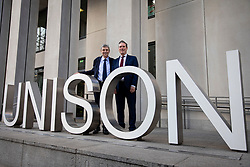 © Licensed to London News Pictures. 09/01/2020. London, UK. Sir Keir Starmer (R), the frontrunner in the race to become the next Leader of the Labour Party, and General Secretary of UNISON Dave Prentis (L) at the offices of Unison. Unison has backed Keir Starmer as leader and Angela Rayner as deputy leader. Photo credit: Rob Pinney/LNP