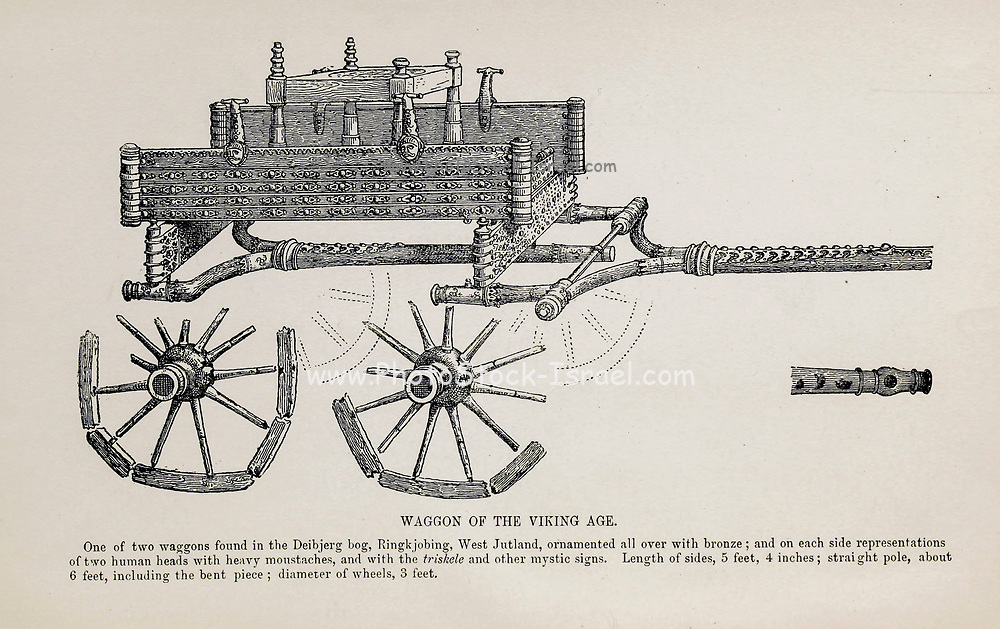 Waggon of the Viking Age from the book ' The viking age: the early history, manners, and customs of the ancestors of the English-speaking nations ' Volume 2 by Du Chaillu, Paul B. (Paul Belloni), Published in New York by  C. Scribner's sons in 1890