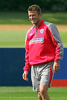 England training session at London Colney 01/09/09<br /> Photo Nicky Hayes Fotosports International<br /> David Beckham has a laugh in training.