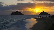 Sunrise, Mokulua Islands, Lanikai Beach, Kailua, Oahu, Hawaii