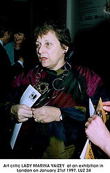 Art critic LADY MARINA VAIZEY  at an exhibition in London on January 21st 1997.LUZ 24