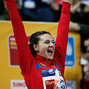 Russia's Yelena Isinbayeva celebrates on the podium during the medal ceremony for the women's pole vault at during the IAAF World Indoor Championships at the Atakoy Athletics Arena, Istanbul, Turkey. Photo by TURKPIX