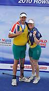 Bled, SLOVENIA, Adaptive Rowing. Awards Dock. Silver medalist. AUS TAMix2x. Grant BAILEY and Kathryn ROSS, FISA World Cup, Bled. Lake Bled.   Saturday  29/05/2010  [Mandatory Credit Peter Spurrier/ Intersport Images].Crew