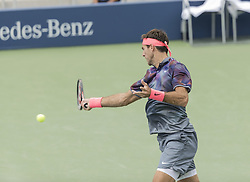 August 31, 2017 - New York, New York, United States - Juan Martin del Potro of Argentina returns ball during match against Adrian Menendez-Maceiras of Spain at US Open Championships at Billie Jean King National Tennis Center  (Credit Image: © Lev Radin/Pacific Press via ZUMA Wire)