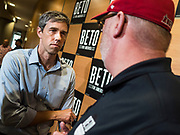 06 MAY 2019 - INDIANOLA, IOWA: BETO O'ROURKE, a Texas Democrat, talks to a Democratic voter after a campaign event at Simpson College in Indianola, IA, Monday. O'Rouke is campaigning in Iowa to support his candidacy to be the Democratic nominee for the US Presidency in 2020.  Iowa traditionally hosts the the first election event of the presidential election cycle. The Iowa Caucuses will be on Feb. 3, 2020.              PHOTO BY JACK KURTZ