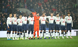 Tottenham Hotspur players observe a minute silence prior to kick-off during the Premier League match at Selhurst Park, London.
