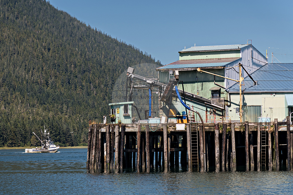 A fishing boat passes the Icicle Seafoods fish docks in the tiny village of Petersburg on Mitkof Island along the Wrangell Narrows in Frederick Sound with the Alaska Coast Range of mountains behind on Mitkof Island, Alaska. Petersburg settled by Norwegian immigrant Peter Buschmann is known as Little Norway due to the high percentage of people of Scandinavian origin.