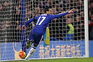 Pedro of Chelsea celebrates after  he scores his sides 4th goal to make it 4-0. Barclays Premier league match, Chelsea v Newcastle Utd at Stamford Bridge in London on Saturday 13th February 2016.<br /> pic by John Patrick Fletcher, Andrew Orchard sports photography.