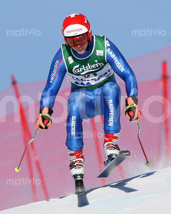 Ski Alpin; Saison 2006/2007  77. Weltcup Abfahrt Herren Training Diego Zueger (SUI) an der Minschkante