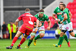 Irne Herbst of Benetton Treviso in action during todays match<br /> <br /> Photographer Craig Thomas/Replay Images<br /> <br /> Guinness PRO14 Round 3 - Scarlets v Benetton Treviso - Saturday 15th September 2018 - Parc Y Scarlets - Llanelli<br /> <br /> World Copyright © Replay Images . All rights reserved. info@replayimages.co.uk - http://replayimages.co.uk