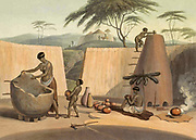 Booshuana Woman Manufacturing Earthen Ware hand colored plate from the collection of  ' African scenery and animals ' by Daniell, Samuel, 1775-1811 and Daniell, William, 1769-1837 published 1804