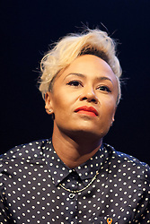 © Licensed to London News Pictures. 18/06/2013. London, UK. Singer Emeli Sandeis seen during a question and answer session held at a press conference for 'Unity - A Concert for Stephen Lawrence', in London today (18/06/2013). The concert will be held in aid of the Stephen Lawrence Charitable Trust, which helps young people from disadvantaged backgrounds, on the 29th of September 2013 at the O2 arena in Greenwich, London. Photo credit: Matt Cetti-Roberts/LNP