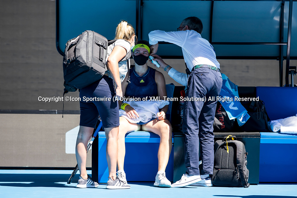 MELBOURNE, VIC - FEBRUARY 17: Karolina Muchova of the Czech Republic seeks medical attention during the quarterfinals of the 2021 Australian Open on February 17 2021, at Melbourne Park in Melbourne, Australia. (Photo by Jason Heidrich/Icon Sportswire)