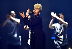 Emeli Sande performing on stage at the Brit Awards at the O2 Arena, London.