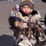 Alaska, People, Child Inuit in native dress. Barrow, Alaska. 4th of July celebration.