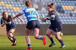 Caryl Thomas of Worcester Warriors Women looks for a route past Beth Blacklock of DMP Durham Sharks- Mandatory by-line: Nick Browning/JMP - 09/01/2021 - RUGBY - Sixways Stadium - Worcester, England - Worcester Warriors Women v DMP Durham Sharks - Allianz Premier 15s