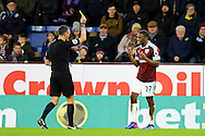 Tendayi Darikwa of Burnley gets a booking from referee Andre Marriner. The Emirates FA cup 4th round match, Burnley v Bristol City at Turf Moor in Burnley, Lancs on Saturday 28th January 2017.<br /> pic by Chris Stading, Andrew Orchard Sports Photography.