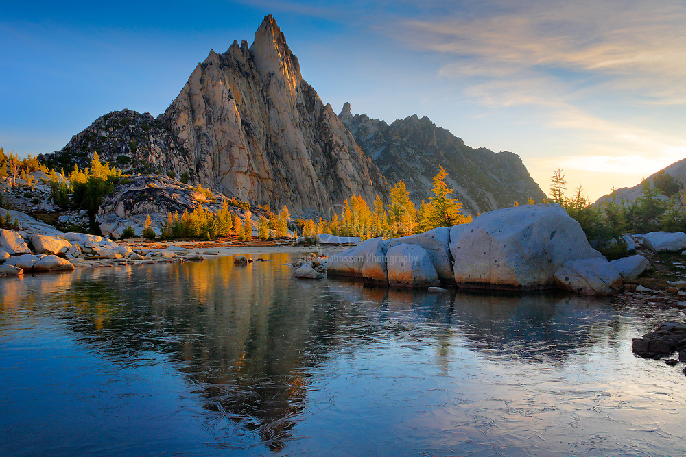 Prusik Peak from an icy Gnome Tarn in the Enchantment Lakes area of the Alpine Lakes Wilderness, Washington