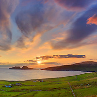 panoramic sunset overlooking st finians bay with view on the great skelligs southwest kerry geopark ireland / bs038 I love the Skelligs, ****** <br /> <br /> Visit & browse through my Photography & Art Gallery, located on the Wild Atlantic Way & Skellig Ring between Waterville and Ballinskelligs (Skellig Coast R567), only 3 minutes from the main Ring of Kerry road.<br /> https://goo.gl/maps/syg6bd3KQtw<br /> <br /> ******<br /> <br /> Contact: 085 7803273 from an Irish mobile phone or +353 85 7803273 from an international mobile phone