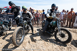 Daniel DeSoucey on his 1945 Harley-Davidson WLA Flathead beside Kevin Baas on his 1939 Harley-Davidson Knucklehead in the Bradford Beach Brawl, a TROG style beach racing event, during the Harley-Davidson 115th Anniversary Celebration event. Milwaukee, WI. USA. Friday August 31, 2018. Photography ©2018 Michael Lichter.